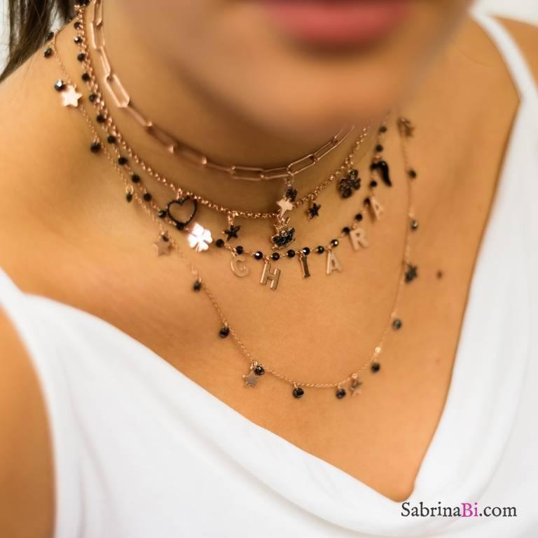 Collana media lunghezza argento 925 oro rosa cascata Zirconi neri e stelle
