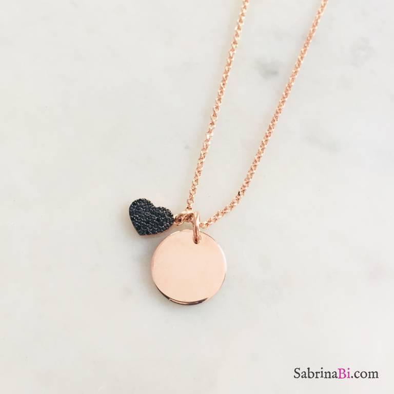 Collana media lunghezza argento 925 oro rosa disco incidibile e cuore Zirconi neri