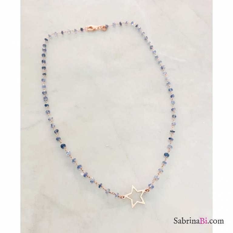 Collana media rosario argento 925 oro rosa Giada azzurra e stella