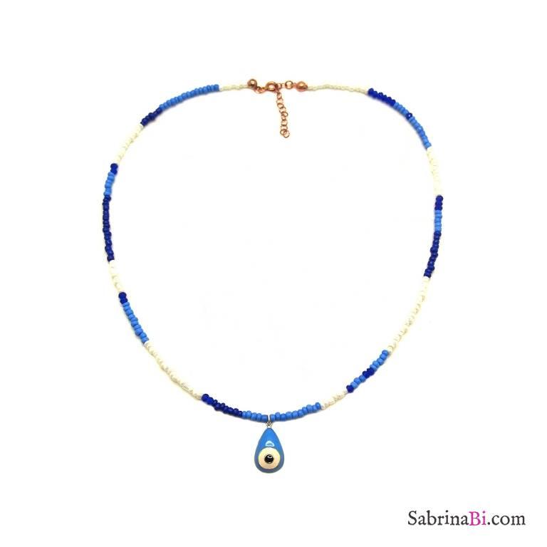 Collana micro perline blu e bianche Occhio di Allah