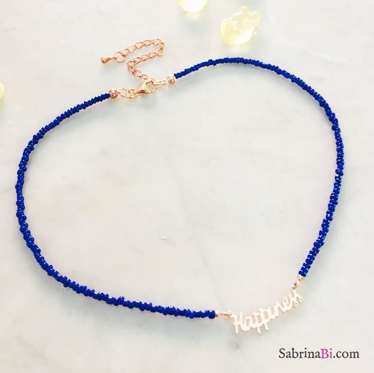 Collana micro perline vetro blu Happiness