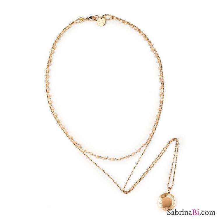 Collana multifilo oro rosa portafoto tondo e rosario bianco