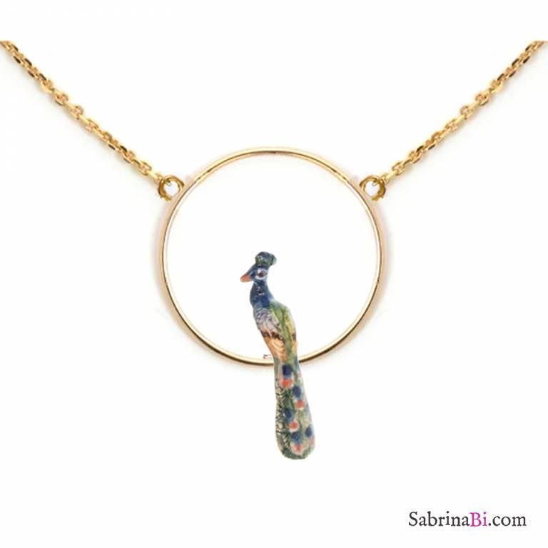 Collana oro ciondolo Pavone in porcellana nel cerchio