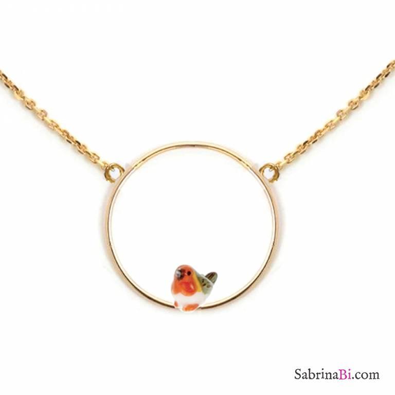Collana oro ciondolo Pettirosso in porcellana nel cerchio