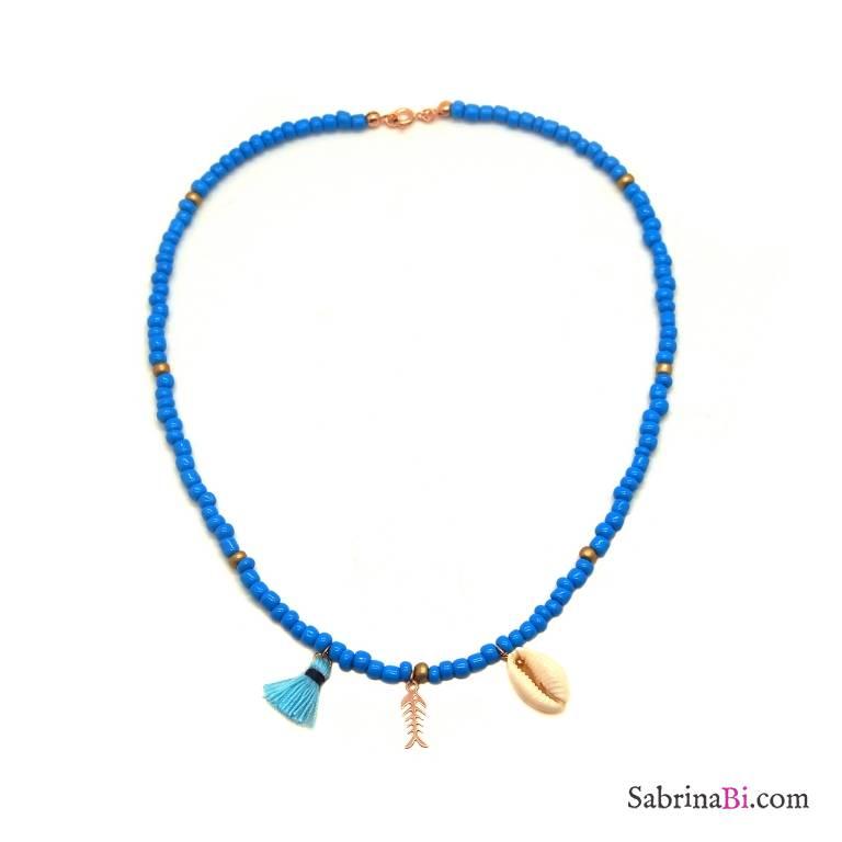 Collana perle di vetro turchesi e bronzo con conchiglia e lisca di pesce