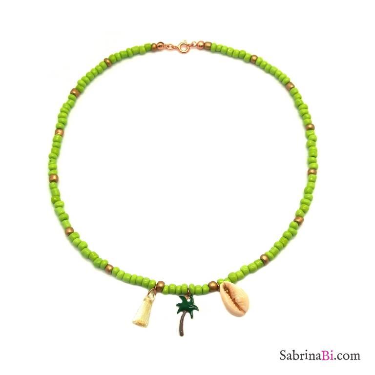 Collana perle di vetro verde lime e bronzo con conchiglia e palma
