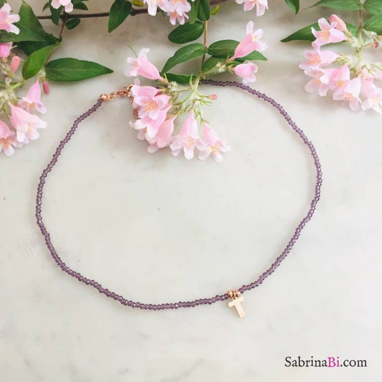 Collana perline viola radice di Ametista e lettera iniziale nome