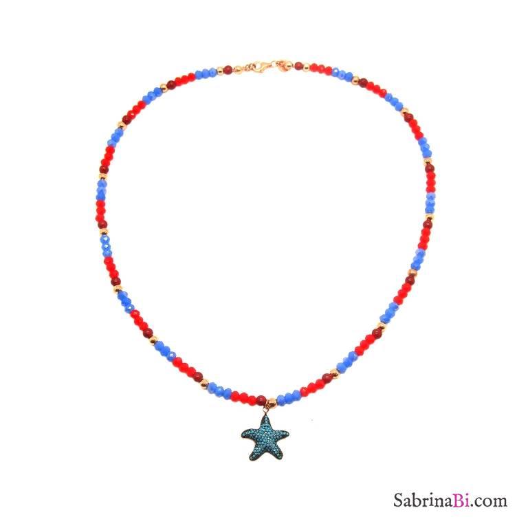 Collana pietre turchesi e rosse e stella marina Turchesi