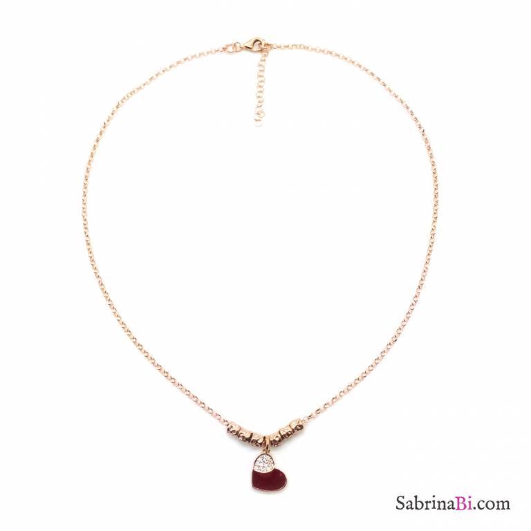 Collana rondelle argento 925 oro rosa Ruby Heart