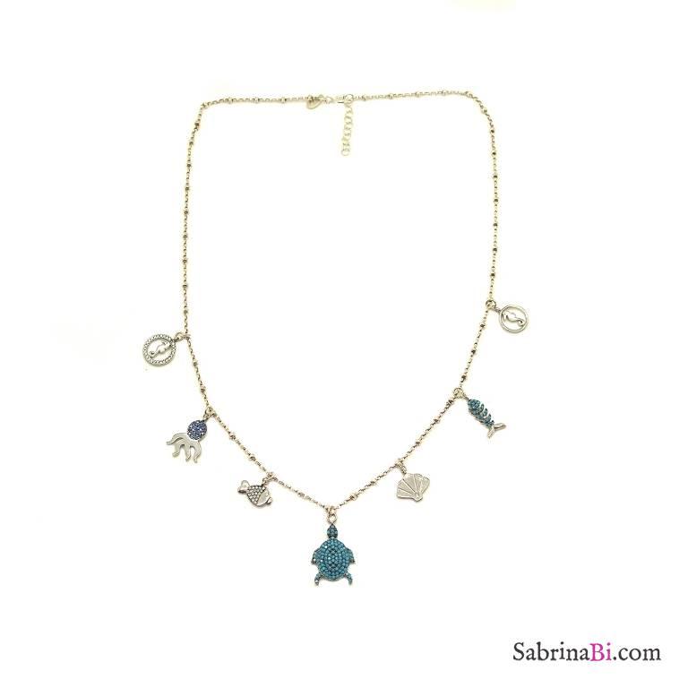 Collana rosario argento 925 7 charms Mare