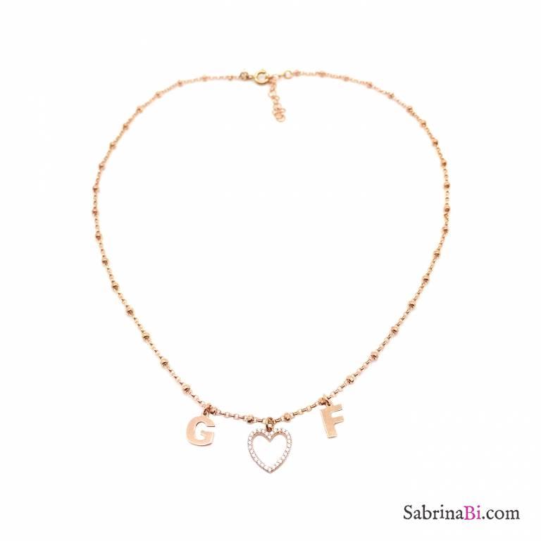 Collana rosario argento 925 oro rosa 2 lettere iniziali nome e cuore Zirconi