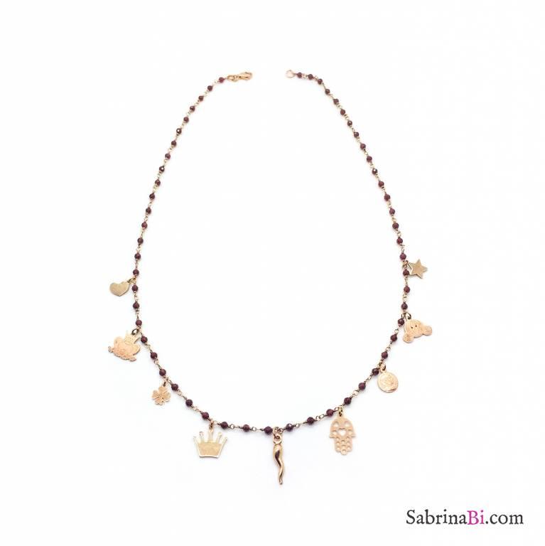 Collana rosario argento 925 oro rosa Granato rosso 9 charms