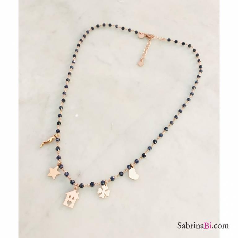 Collana rosario argento 925 oro rosa Lapislazzuli blu e charms oro rosa
