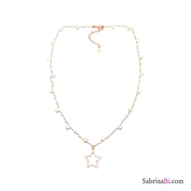 Collana rosario argento 925 oro rosa Perle goccia e stella grande Zirconi