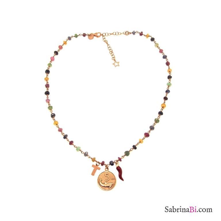 Collana rosario argento 925 oro rosa pietre dure multicolor moneta, lettera e cornetto