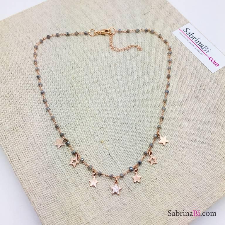 Collana rosario argento 925 oro rosa Serena