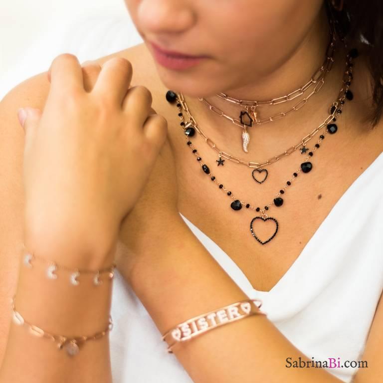 Collana rosario argento 925 oro rosa Spinelli neri goccia cuore Zirconi neri