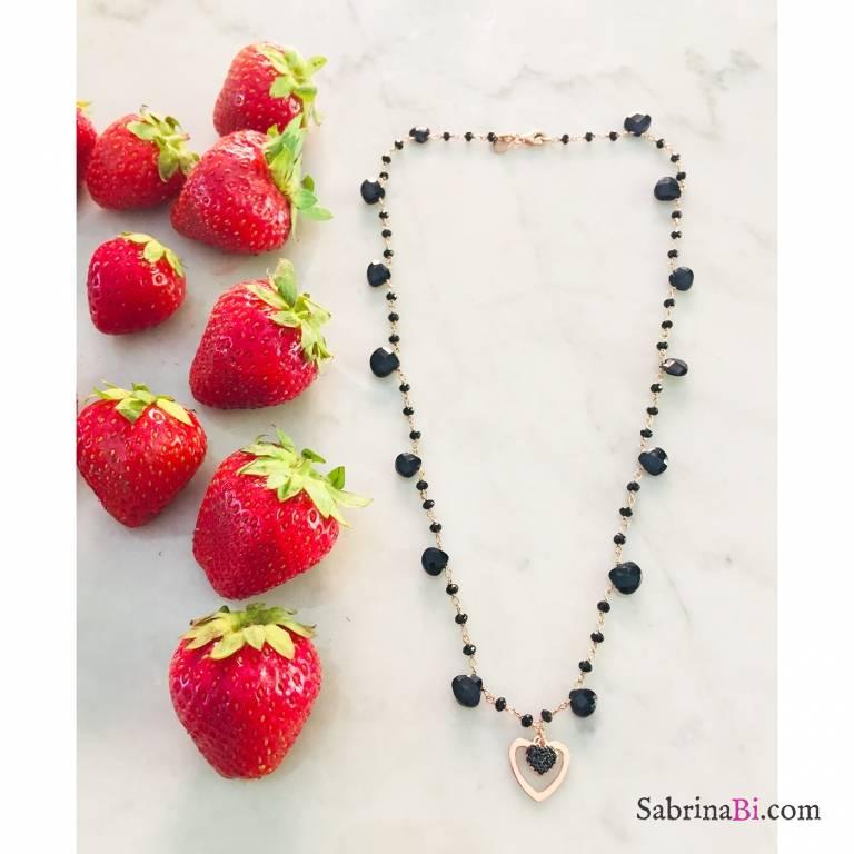 Collana rosario argento 925 oro rosa Spinelli neri goccia Due cuori