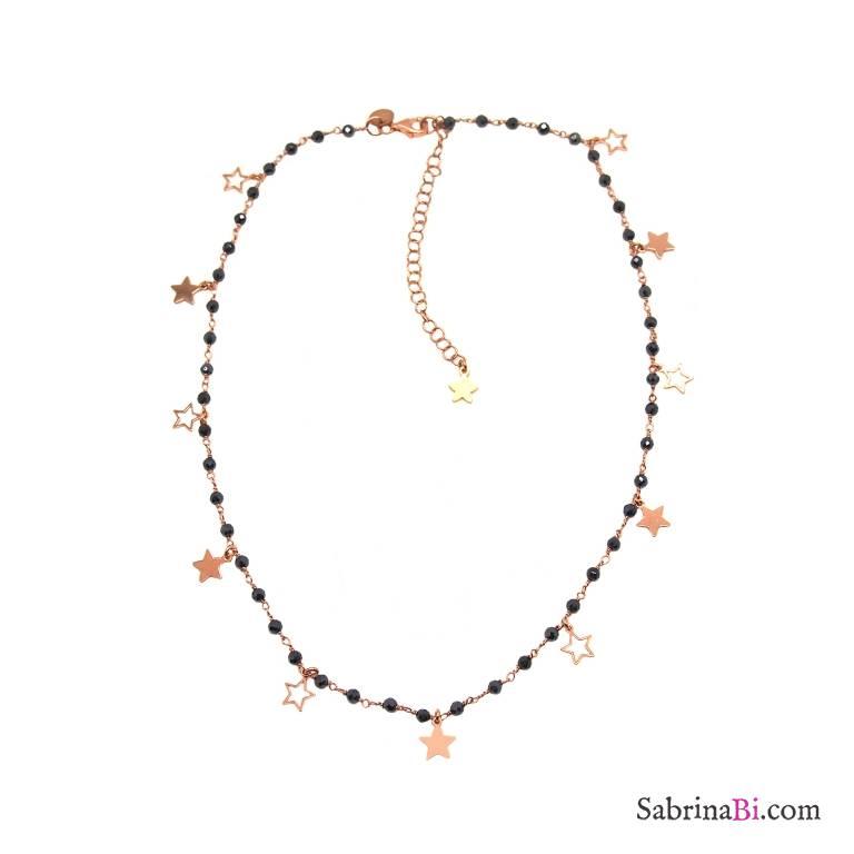 Collana rosario argento 925 oro rosa Tanzanite blu scura e stelle