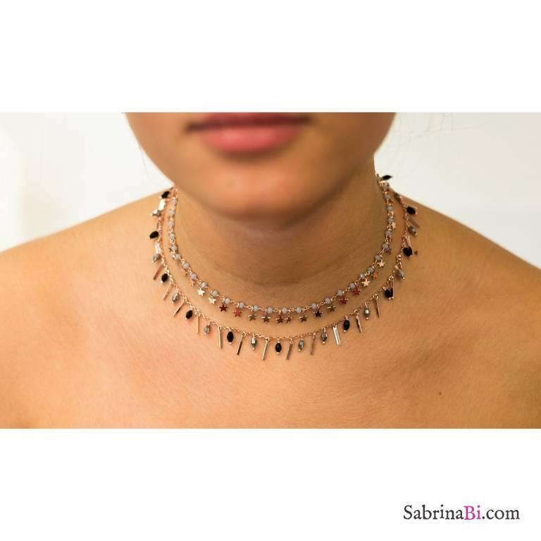 Collana rosario argento 925 oro rosa Zirconi grigi Tutto Stelle