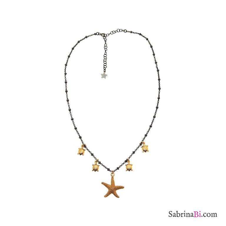 Collana rosario argento 925 rodiato nero Stella marina e tartarughe