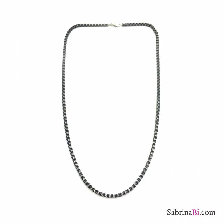 Black rhodium stainless steel square chain man necklace