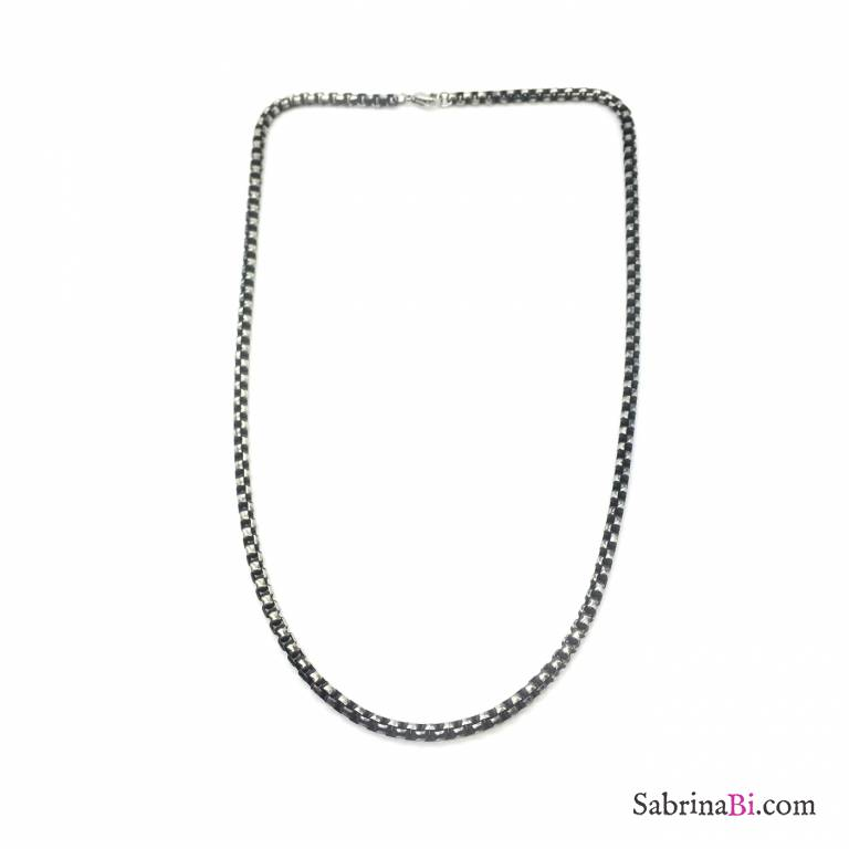Black rhodium stainless steel rounded chain man necklace