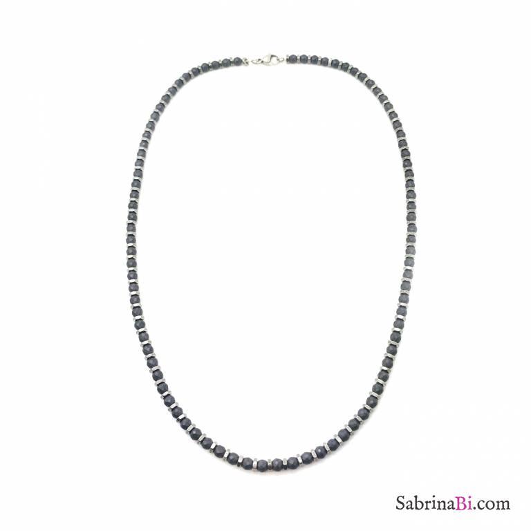 Black rhodium stainless steel spheres man necklace