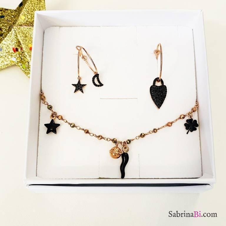 Combo 3 mono orecchini cerchio + bracciale argento 925 oro rosa Claudia