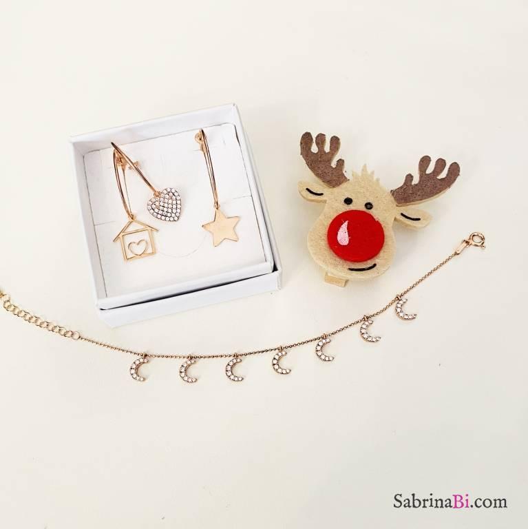 Combo 3 mono orecchini cerchio + bracciale argento 925 oro rosa Luna