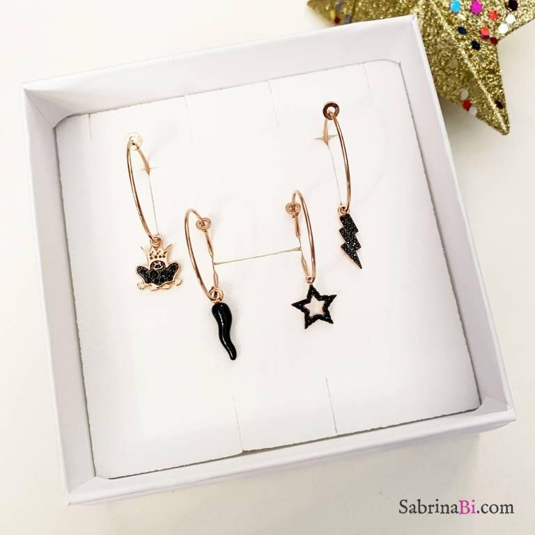 Combo 4 mono orecchini cerchio argento 925 oro rosa Black Luck