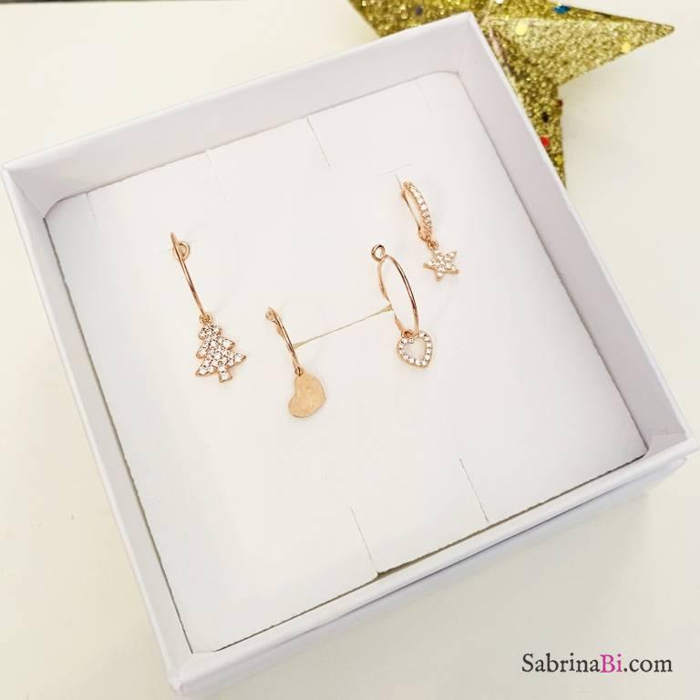Combo 4 mono orecchini cerchio argento 925 oro rosa Christmas