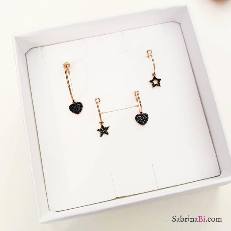 Combo 4 mono orecchini cerchio argento 925 oro rosa Cuori e stelle