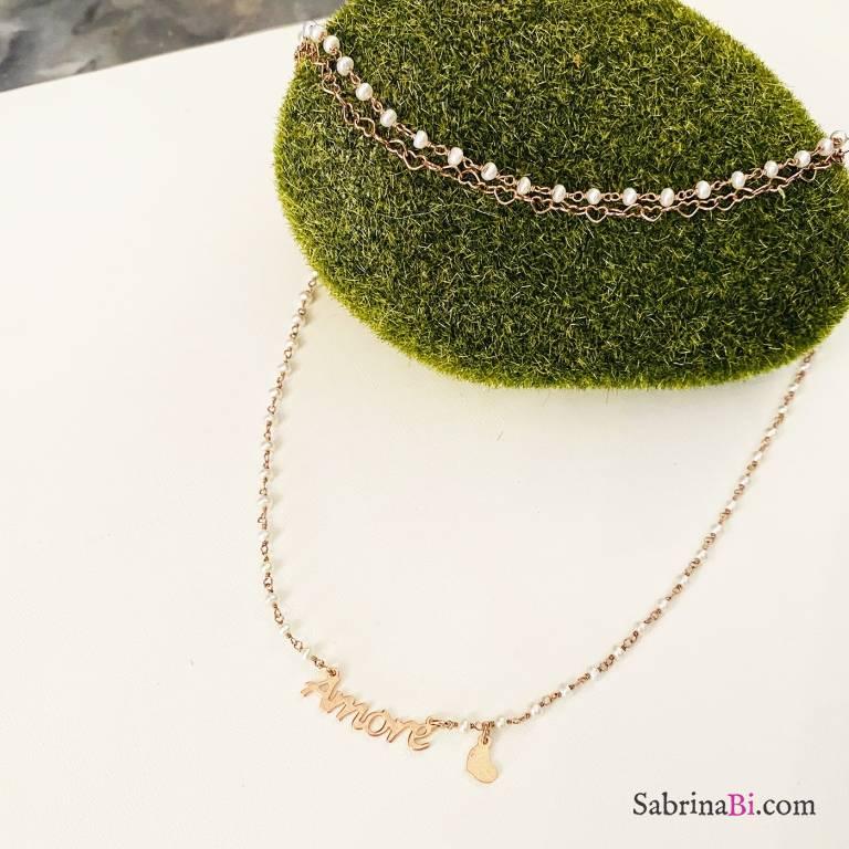 Combo bracciale + collana argento 925 oro rosa Amore e cuore