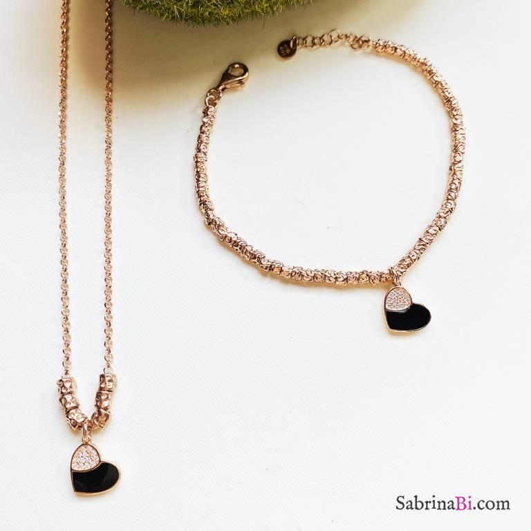 Combo bracciale + collana argento 925 oro rosa Black Heart