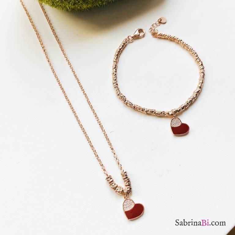Combo bracciale + collana argento 925 oro rosa Ruby Heart