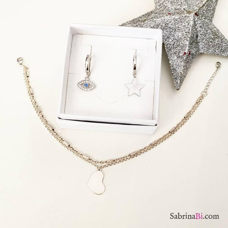 Combo orecchini cerchio + bracciale argento 925 Big Heart