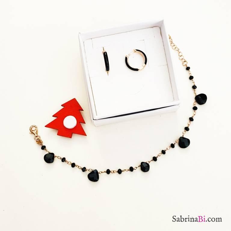 Combo orecchini cerchio + bracciale argento 925 oro rosa All black