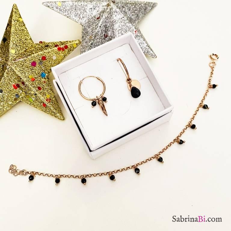 Combo orecchini cerchio + bracciale argento 925 oro rosa Black beauty