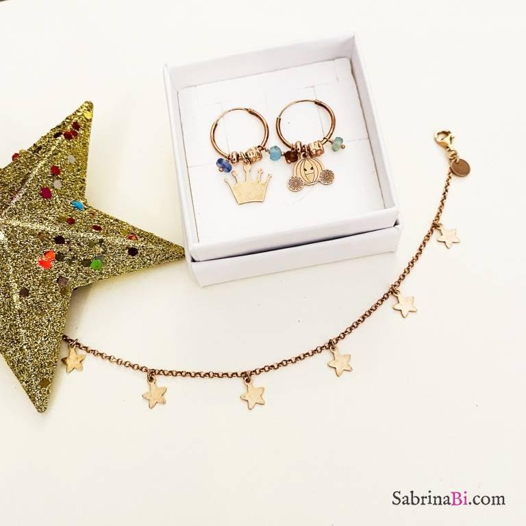 Combo orecchini cerchio + bracciale argento 925 oro rosa Cinderella