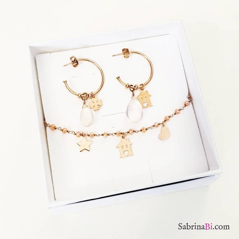 Combo orecchini cerchio + bracciale argento 925 oro rosa Home sweet home