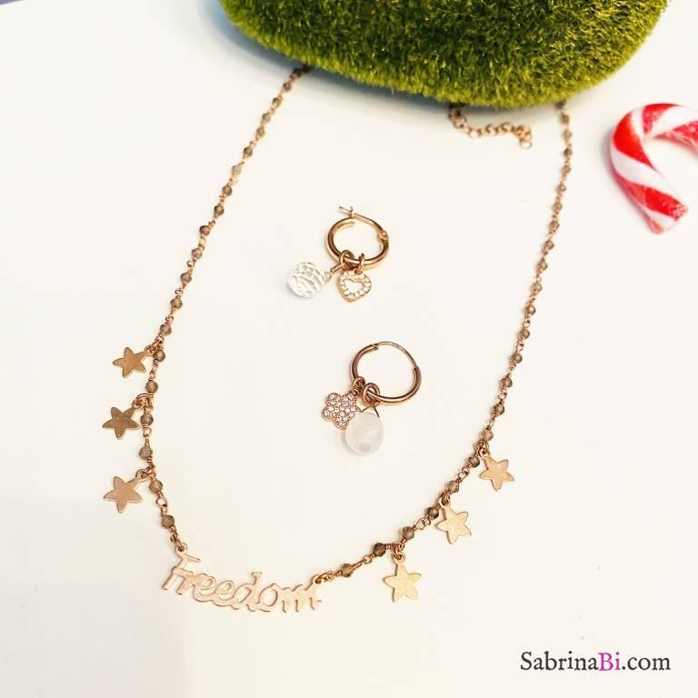 Combo orecchini cerchio  + collana argento 925 oro rosa Freedom