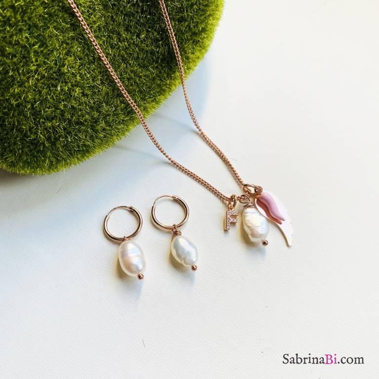 Combo orecchini cerchio  + collana argento 925 oro rosa Jasmine