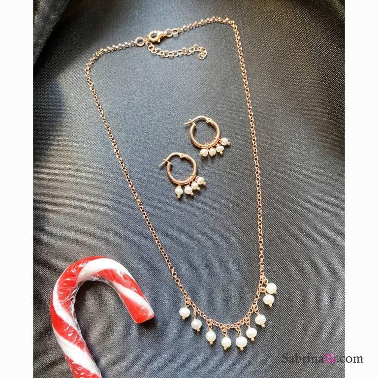 Combo orecchini cerchio  + collana argento 925 oro rosa Pearls