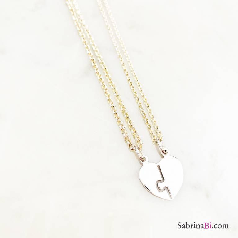 Due collane Lei + Lui in argento 925 cuore spezzato
