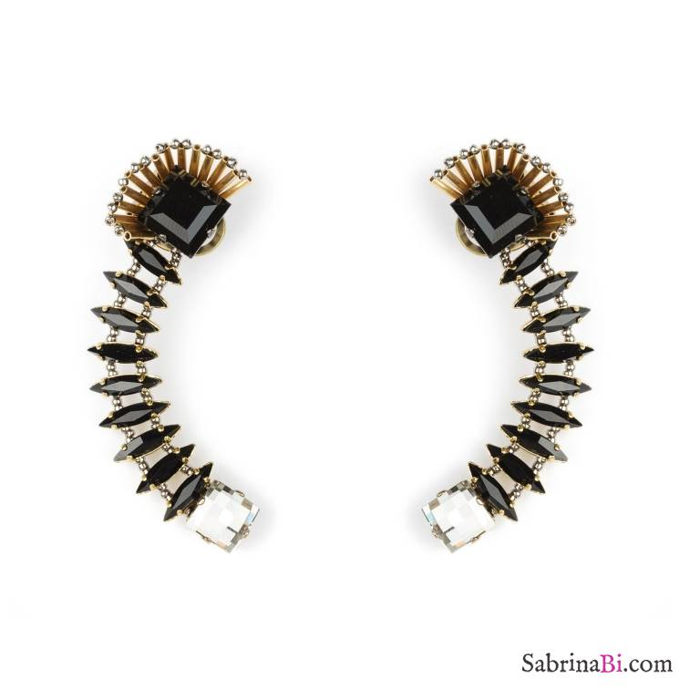 Ear cuffs cristalli Swarovski neri