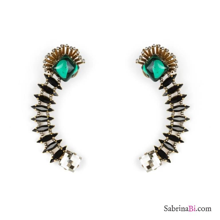 Statement green and black Swarovsky crystals ear cuffs