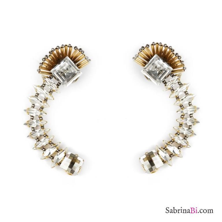 Statement clear Swarovsky crystals ear cuffs
