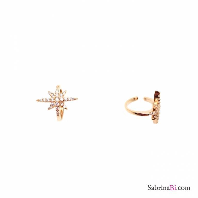 Mono ear cuff argento 925 oro rosa stella Zirconi
