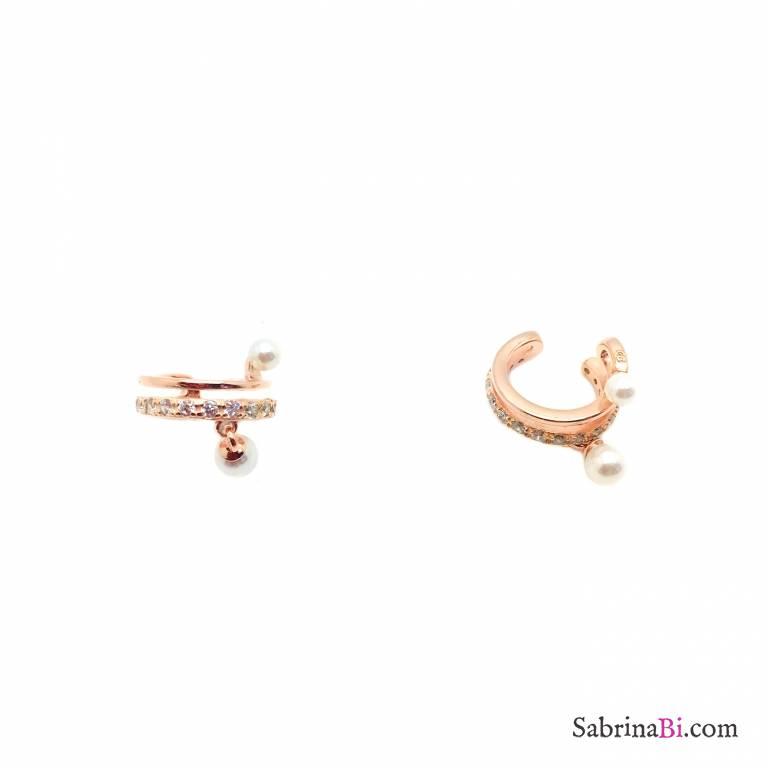 Mono ear cuff cerchio zirconato argento 925 oro rosa doppia perla